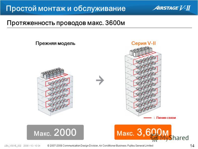 © 2007-2008 Communication Design Division, Air Conditioner Business. Fujitsu General Limited LEA_V001E_002 2008 / 10 / 10 04 14 Линия связи Простой монтаж и обслуживание Протяженность проводов макс. 3600м Прежняя модельСерия V-II Макс. 3,600м Макс. 2