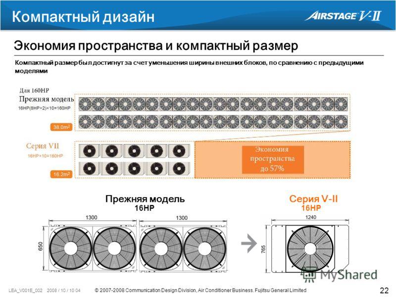 © 2007-2008 Communication Design Division, Air Conditioner Business. Fujitsu General Limited LEA_V001E_002 2008 / 10 / 10 04 22 reduction Компактный дизайн Экономия пространства и компактный размер Прежняя модельСерия V-II Компактный размер был дости