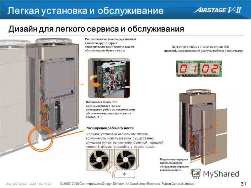 © 2007-2008 Communication Design Division, Air Conditioner Business. Fujitsu General Limited LEA_V001E_002 2008 / 10 / 10 04 31 Легкая установка и обслуживание Дизайн для легкого сервиса и обслуживания В случае установки нескольких блоков, возможност