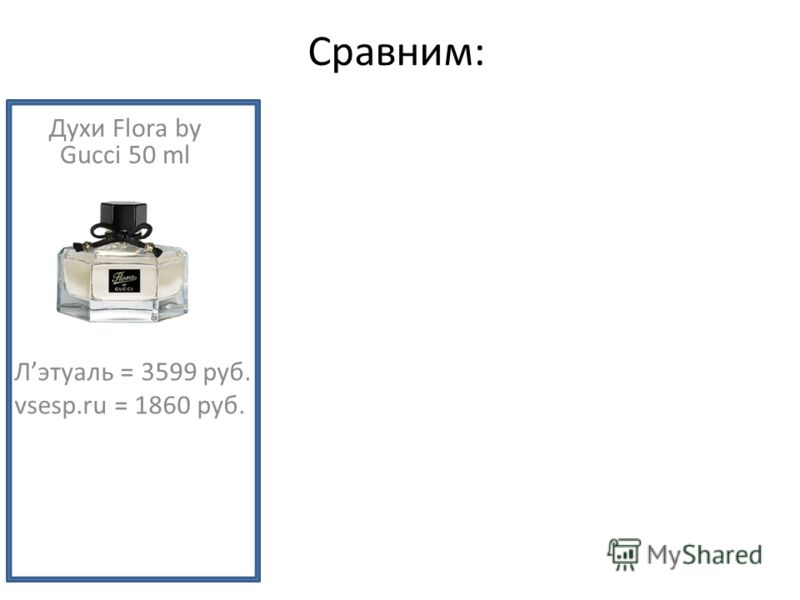 Лэтуаль = 3599 руб. vsesp.ru = 1860 руб. Духи Flora by Gucci 50 ml