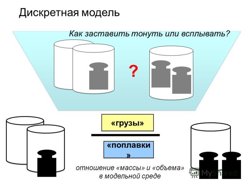 ? ? Дискретная модель «грузы» «поплавки » Как заставить тонуть или всплывать? отношение «массы» и «объема» в модельной среде