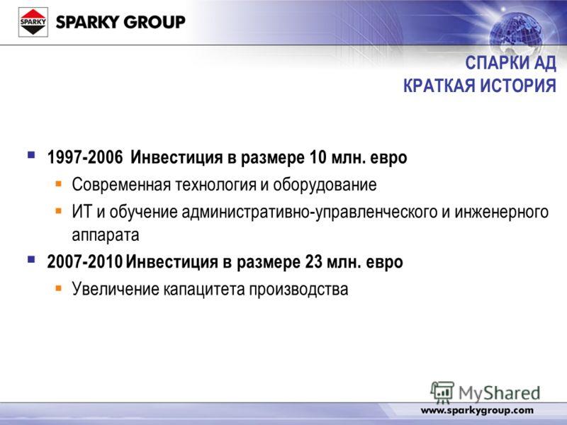 СПАРКИ АД КРАТКАЯ ИСТОРИЯ 1997-2006 Инвестиция в размере 10 млн. евро Современная технология и оборудование ИТ и обучение административно-управленческого и инженерного аппарата 2007-2010 Инвестиция в размере 23 млн. евро Увеличение капацитета произво