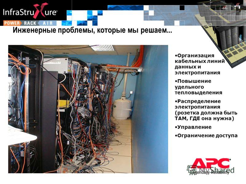 Инженерные проблемы, которые мы решаем... Организация кабельных линий данных и электропитания Повышение удельного тепловыделения Распределение электропитания (розетка должна быть ТАМ, ГДЕ она нужна) Управление Ограничение доступа