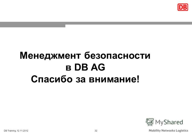 32DB Training, 12.11.2012 Менеджмент безопасности в DB AG Спасибо за внимание!