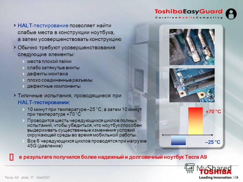 Tecra A9 slide: 16 Maй2007 Проектирование и качество Быстрое обнаружение недостатков и слабых мест в конструкции и производстве Оценка и усовершенствование конструкции продукции Предложение на рынке более надежных устройств Меньшая цена благодаря сни