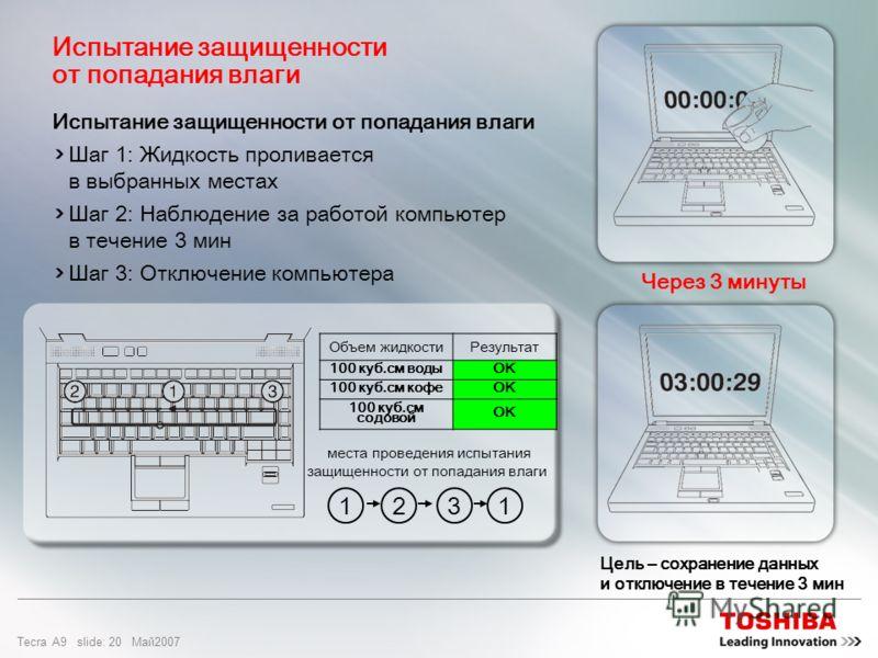 Tecra A9 slide: 19 Maй2007 Влагозащищенная клавиатура Предотвращает поломку системы от случайного проливания жидкости (до 100 куб. см) на клавиатуру и позволяет пользователям в течение нескольких минут закрыть все открытые файлы и выключить компьютер