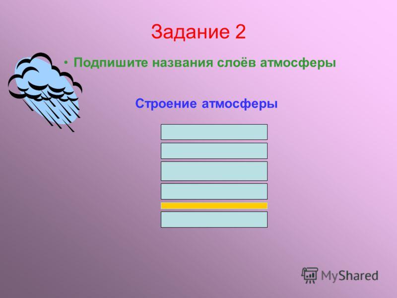 Задание 1 Продолжите предложения: 1.Атмосфера это – … 2.Одна из первых гипотез о возникновении атмосферы Земли была высказана … 3.Толщина атмосферы составляет примерно … 4.В атмосфере выделяют … слоёв