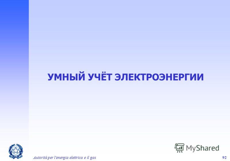 Autorità per l'energia elettrica e il gas92 УМНЫЙ УЧЁТ ЭЛЕКТРОЭНЕРГИИ