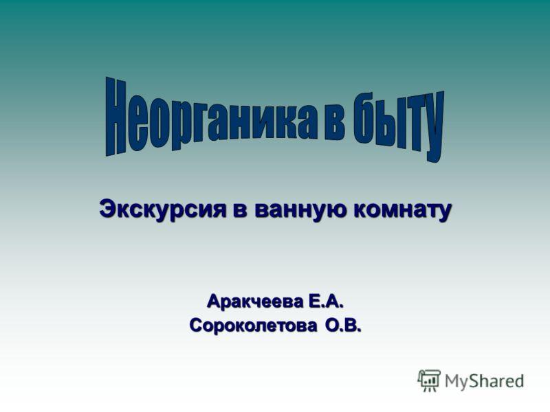 Экскурсия в ванную комнату Аракчеева Е.А. Сороколетова О.В.