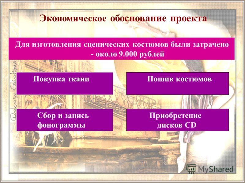 Эко номическое обоснование проекта Пошив костюмов Покупка ткани Для изготовления сценических костюмов были затрачено - около 9.000 рублей Сбор и запись фонограммы Приобретение дисков CD