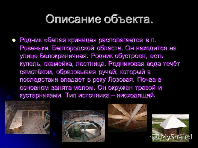 Описание объекта. Родник «Белая криница» располагается в п. Ровеньки, Белгородской области. Он находится на улице Белокриничная. Родник обустроен, есть купель, скамейка, лестница. Родниковая вода течёт самотёком, образовывая ручей, который в последст