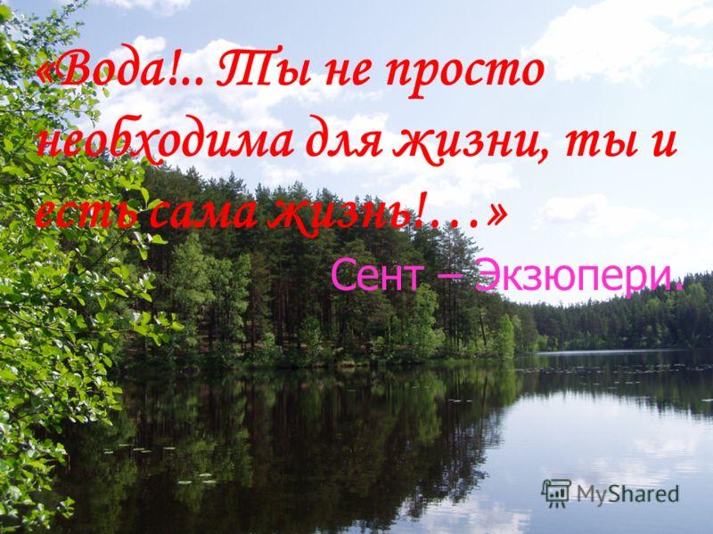 «Вода!.. Ты не просто необходима для жизни, ты и есть сама жизнь!…» Сент – Экзюпери.