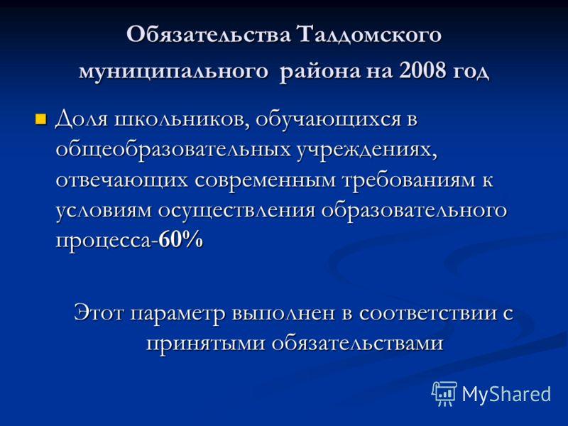 Обязательства Талдомского муниципального района на 2008 год Доля школьников, обучающихся в общеобразовательных учреждениях, отвечающих современным требованиям к условиям осуществления образовательного процесса-60% Доля школьников, обучающихся в общео