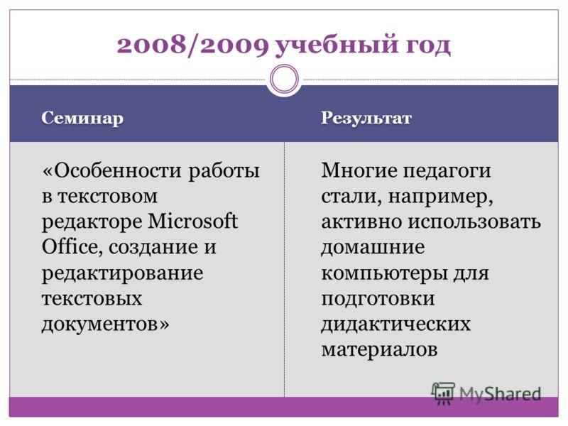 Семинар Результат «Особенности работы в текстовом редакторе Microsoft Office, создание и редактирование текстовых документов» Многие педагоги стали, например, активно использовать домашние компьютеры для подготовки дидактических материалов 2008/2009
