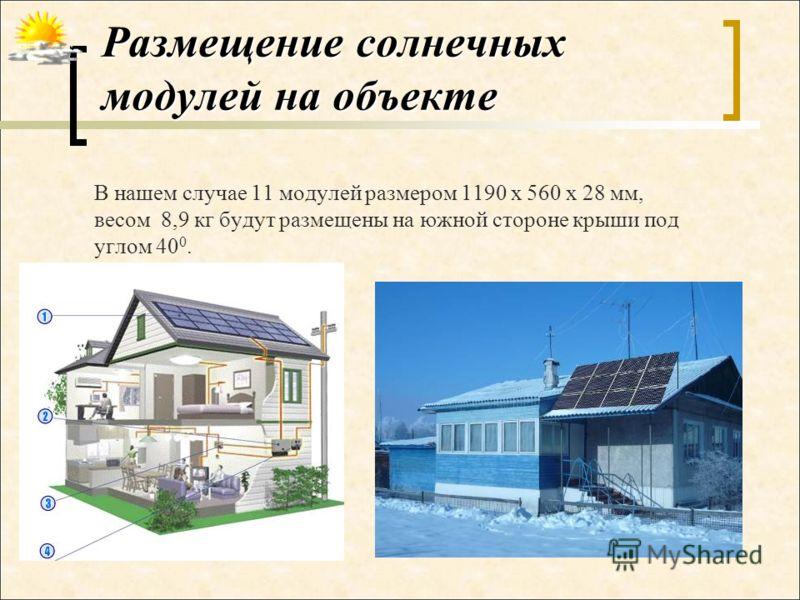 Размещение солнечных модулей на объекте В нашем случае 11 модулей размером 1190 х 560 х 28 мм, весом 8,9 кг будут размещены на южной стороне крыши под углом 40 0.