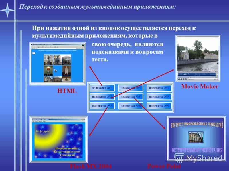 Переход к созданным мультимедийным приложениям: При нажатии одной из кнопок осуществляется переход к мультимедийным приложениям, которые в свою очередь, являются подсказками к вопросам теста. HTML Flash MX 2004 Power Point Movie Maker