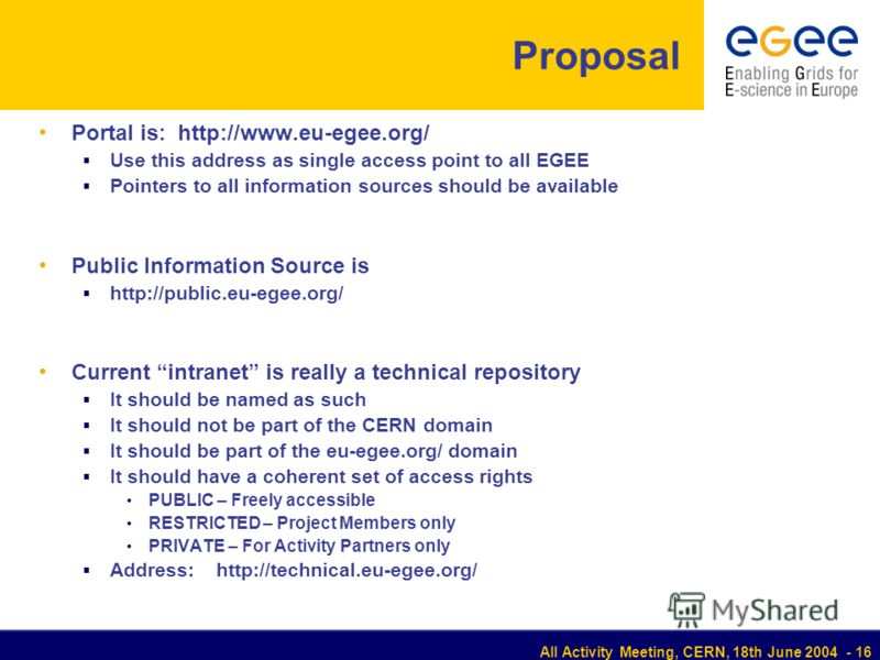 All Activity Meeting, CERN, 18th June 2004 - 16 Proposal Portal is: http://www.eu-egеe.org/ Use this address as single access point to all EGEE Pointers to all information sources should be available Public Information Source is http://public.eu-egee