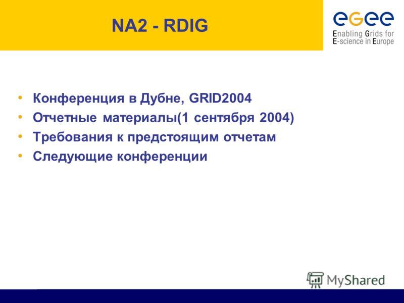 All Activity Meeting, CERN, 18th June 2004 - 2 NA2 - RDIG Конференция в Дубне, GRID2004 Отчетные материалы(1 сентября 2004) Требования к предстоящим отчетам Следующие конференции