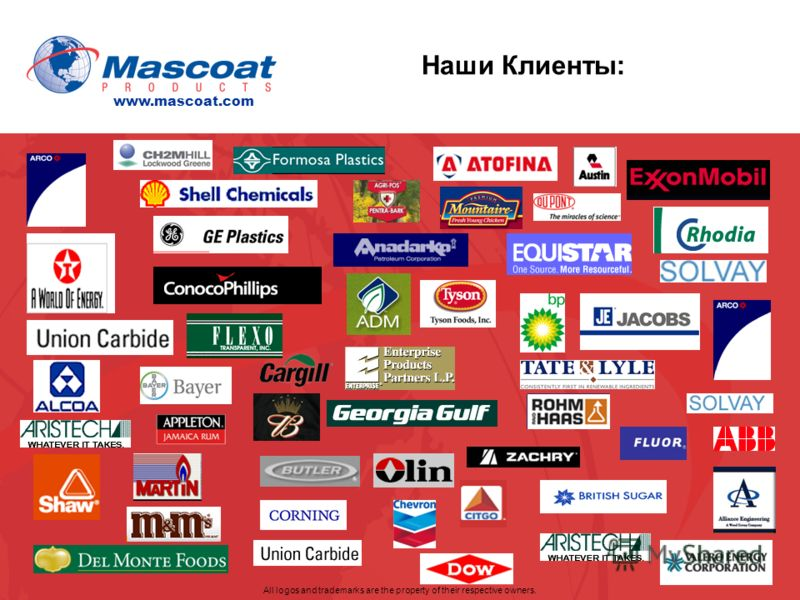 Наши Клиенты: All logos and trademarks are the property of their respective owners. www.mascoat.com