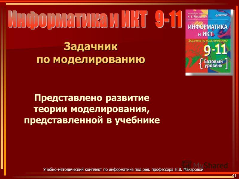 41 Учебно-методический комплект по информатике под ред. профессора Н.В. Макаровой Задачник по моделированию Представлено развитие теории моделирования, представленной в учебнике