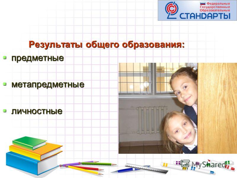 Результаты общего образования: предметные предметные метапредметные метапредметные личностные личностные