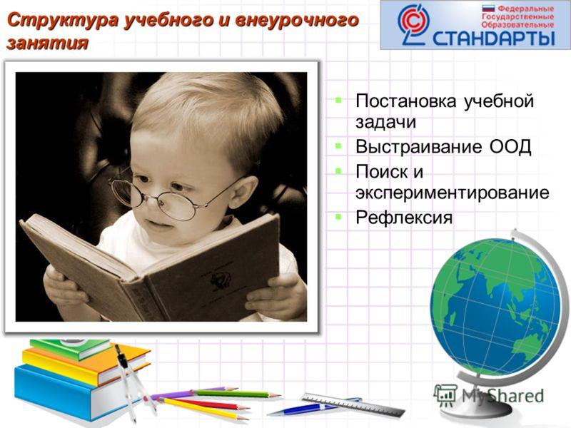 Структура учебного и внеурочного занятия Постановка учебной задачи Выстраивание ООД Поиск и экспериментирование Рефлексия