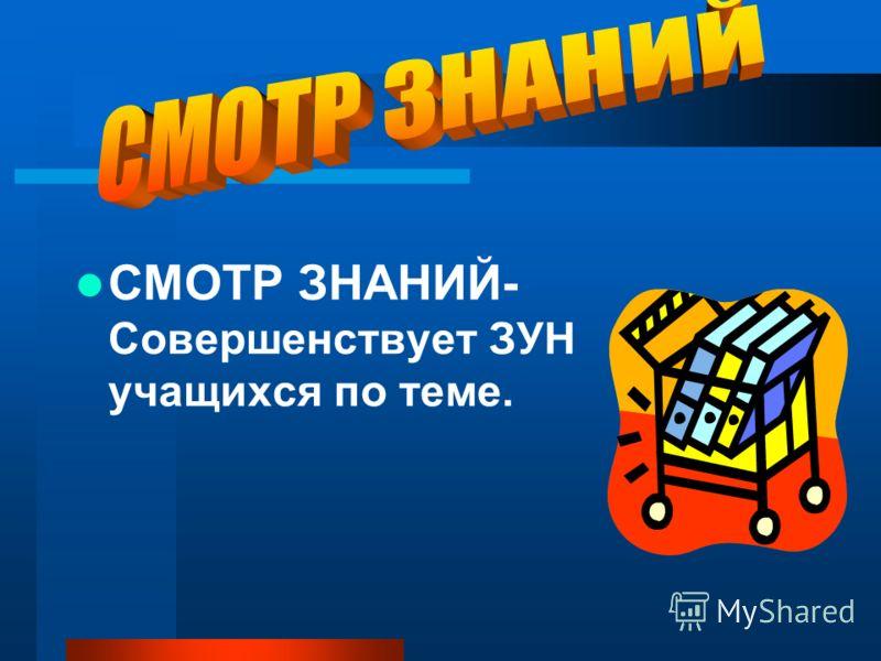 СМОТР ЗНАНИЙ- Совершенствует ЗУН учащихся по теме.