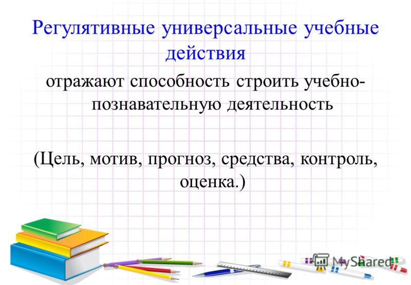 Регулятивные универсальные учебные действия отражают способность строить учебно- познавательную деятельность (Цель, мотив, прогноз, средства, контроль, оценка.)