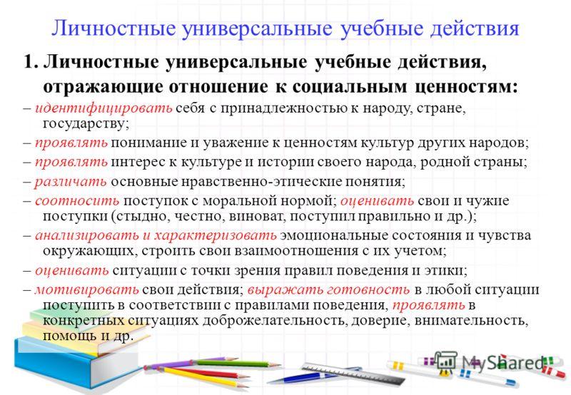 Личностные универсальные учебные действия 1. Личностные универсальные учебные действия, отражающие отношение к социальным ценностям: – идентифицировать себя с принадлежностью к народу, стране, государству; – проявлять понимание и уважение к ценностям
