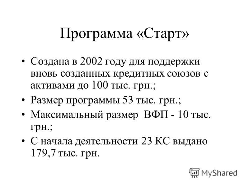 Программа «Старт» Создана в 2002 году для поддержки вновь созданных кредитных союзов с активами до 100 тыс. грн.; Размер программы 53 тыс. грн.; Максимальный размер ВФП - 10 тыс. грн.; С начала деятельности 23 КС выдано 179,7 тыс. грн.