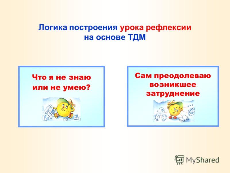 Логика построения урока рефлексии на основе ТДМ Что я не знаю или не умею? Сам преодолеваю возникшее затруднение