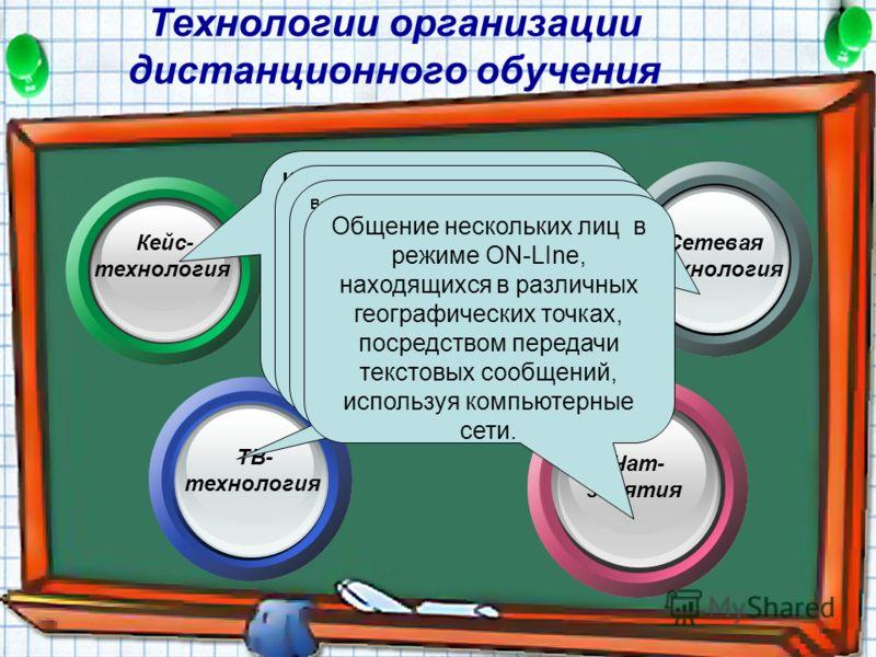 Технологии организации дистанционного обучения Сетевая технология Чат- занятия Кейс- технология ТВ- технология Кейс- технологии - технологии, основанные на комплектовании наборов (кейсов) текстовых учебно-методических материалов и рассылке их обучающ
