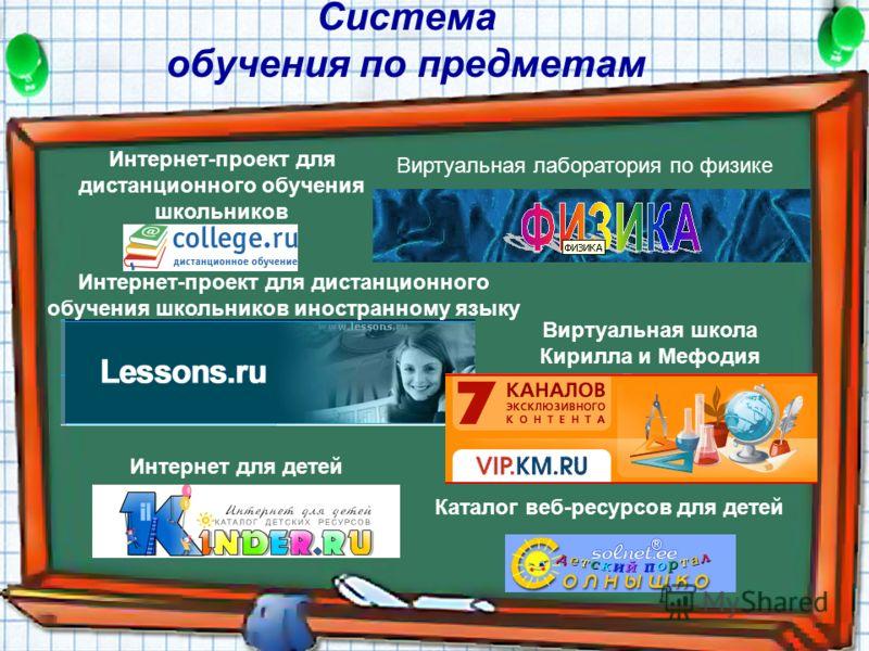 Система обучения по предметам Интернет-проект для дистанционного обучения школьников Виртуальная лаборатория по физике Интернет-проект для дистанционного обучения школьников иностранному языку Виртуальная школа Кирилла и Мефодия Интернет для детей Ка