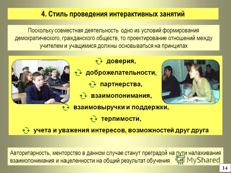 4. Стиль проведения интерактивных занятий доверия, доброжелательности, партнерства, взаимопонимания, взаимовыручки и поддержки, терпимости, учета и уважения интересов, возможностей друг друга Авторитарность, менторство в данном случае станут преградо