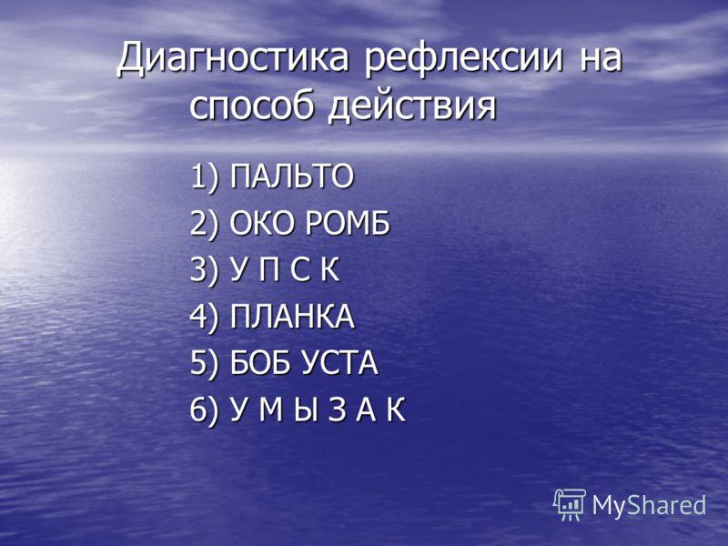 Диагностика рефлексии на способ действия 1) ПАЛЬТО 2) ОКО РОМБ 3) У П С К 4) ПЛАНКА 5) БОБ УСТА 6) У М Ы З А К
