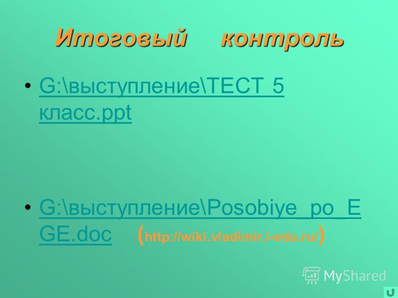 Итоговый контроль G:\выступление\ТЕСТ 5 класс.pptG:\выступление\ТЕСТ 5 класс.ppt G:\выступление\Posobiye_po_E GE.doc ( http://wiki.vladimir.i-edu.ru/ )G:\выступление\Posobiye_po_E GE.doc