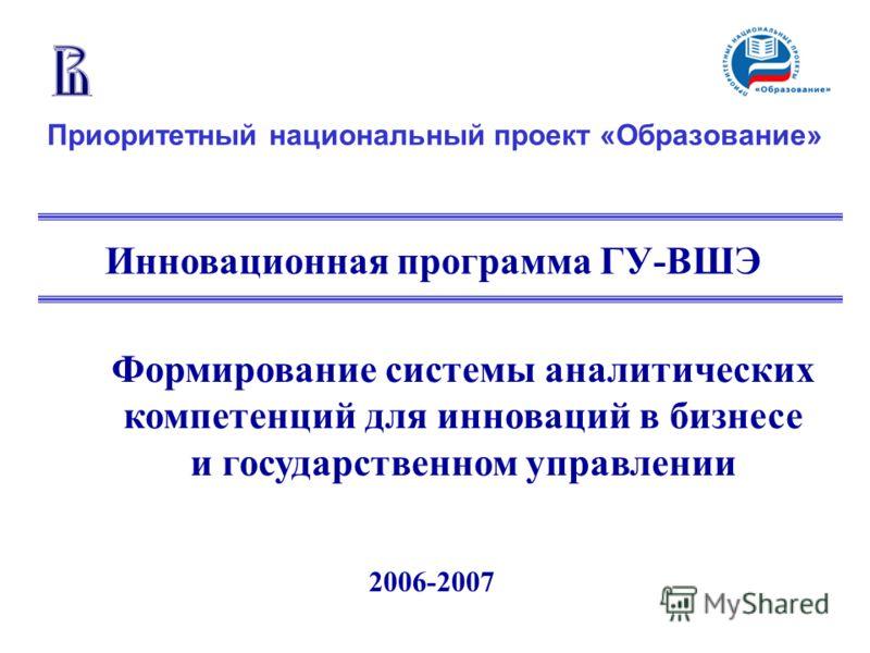 2006-2007 Приоритетный национальный проект «Образование» Инновационная программа ГУ-ВШЭ Формирование системы аналитических компетенций для инноваций в бизнесе и государственном управлении
