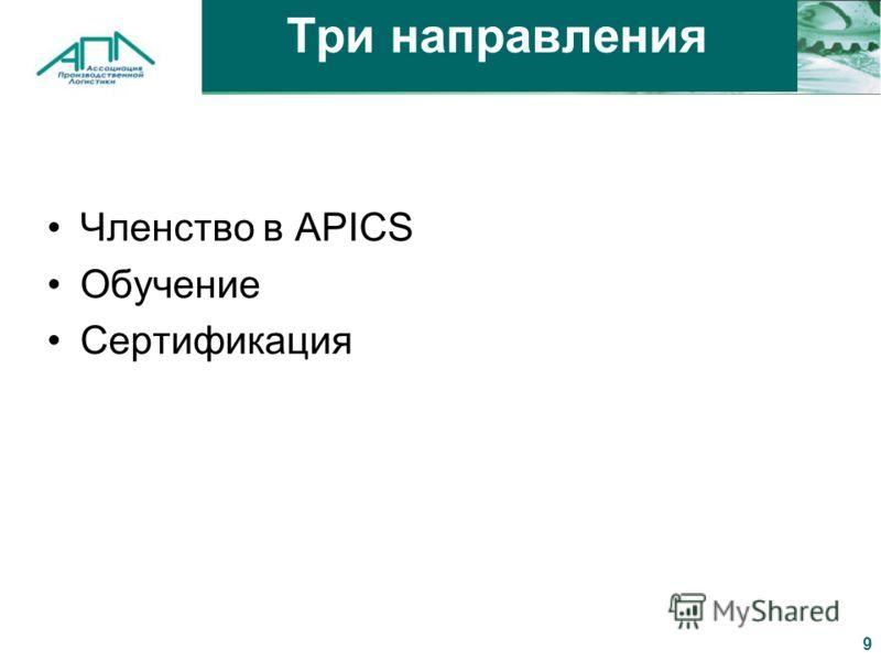 9 Три направления Членство в APICS Обучение Сертификация