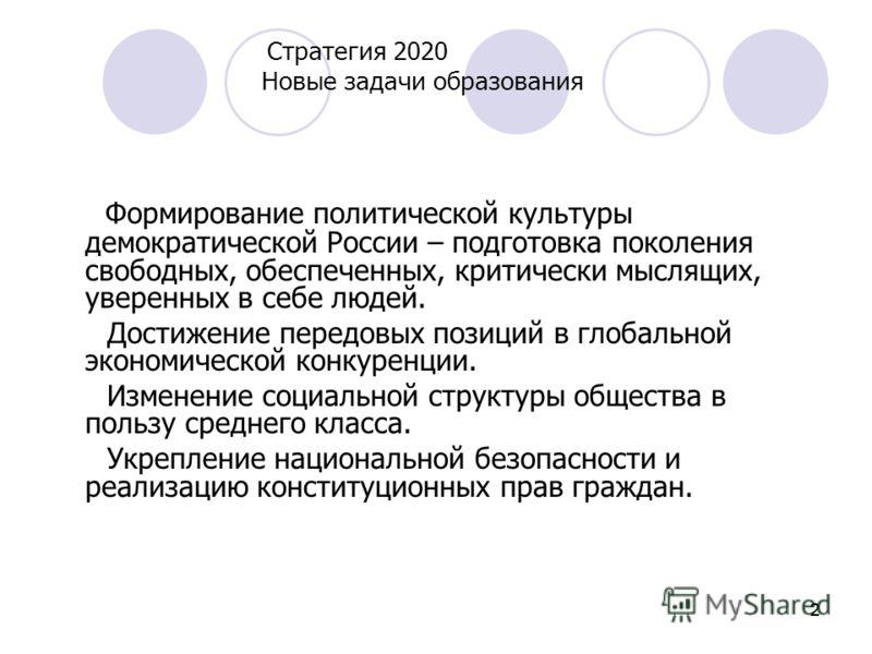 222 Стратегия 2020 Новые задачи образования Формирование политической культуры демократической России – подготовка поколения свободных, обеспеченных, критически мыслящих, уверенных в себе людей. Достижение передовых позиций в глобальной экономической