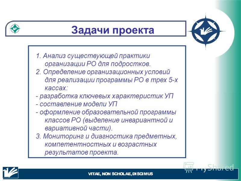 Задачи проекта 1. Анализ существующей практики организации РО для подростков. 2. Определение организационных условий для реализации программы РО в трех 5-х кассах: - разработка ключевых характеристик УП - составление модели УП - оформление образовате