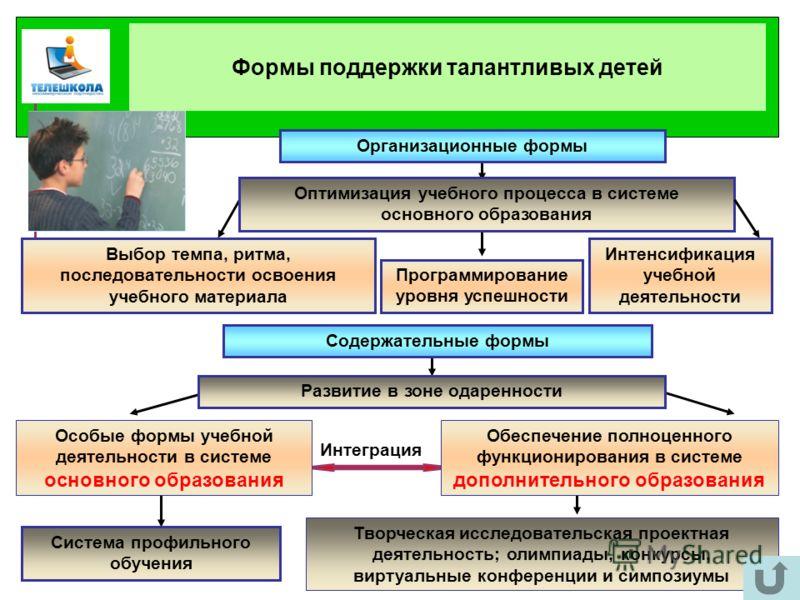 Организационные формы Оптимизация учебного процесса в системе основного образования Интенсификация учебной деятельности Программирование уровня успешности Творческая исследовательская проектная деятельность; олимпиады, конкурсы, виртуальные конференц