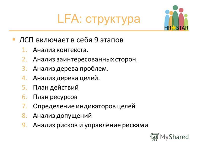 LFA: структура ЛСП включает в себя 9 этапов 1.Анализ контекста. 2.Анализ заинтересованных сторон. 3.Анализ дерева проблем. 4.Анализ дерева целей. 5.План действий 6.План ресурсов 7.Определение индикаторов целей 8.Анализ допущений 9.Анализ рисков и упр