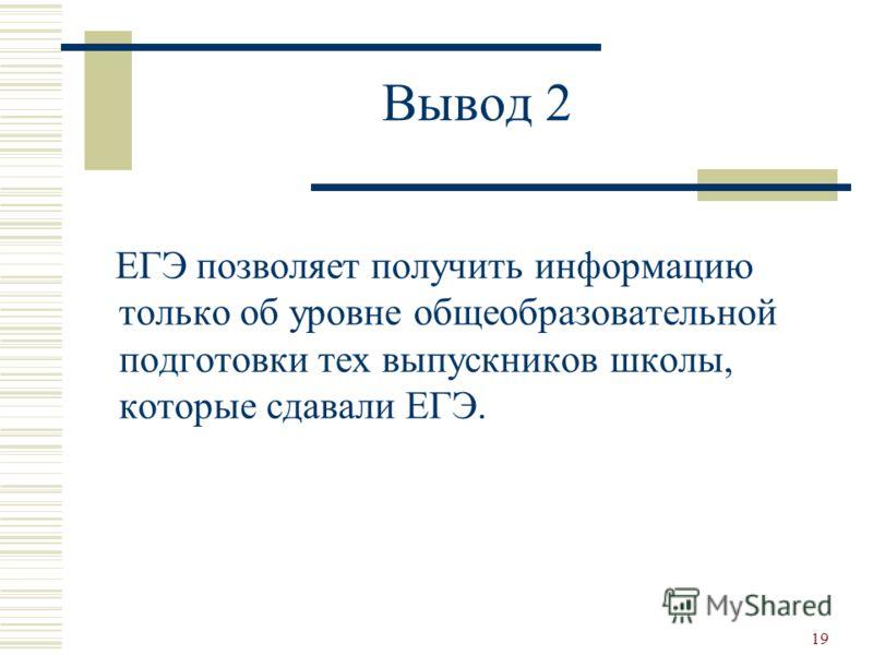 19 Вывод 2 ЕГЭ позволяет получить информацию только об уровне общеобразовательной подготовки тех выпускников школы, которые сдавали ЕГЭ.