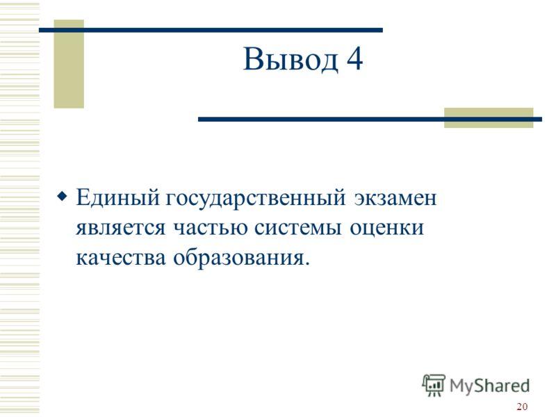 20 Вывод 4 Единый государственный экзамен является частью системы оценки качества образования.