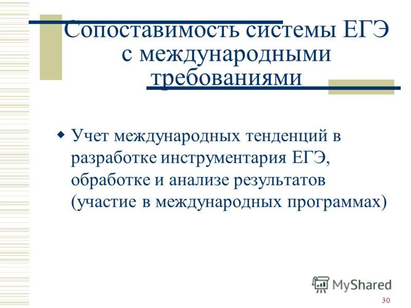 30 Сопоставимость системы ЕГЭ с международными требованиями Учет международных тенденций в разработке инструментария ЕГЭ, обработке и анализе результатов (участие в международных программах)