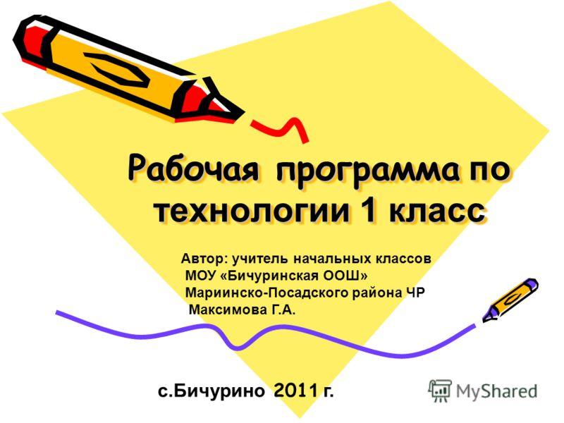 Рабочая Программа По Технологии 1 Класс
