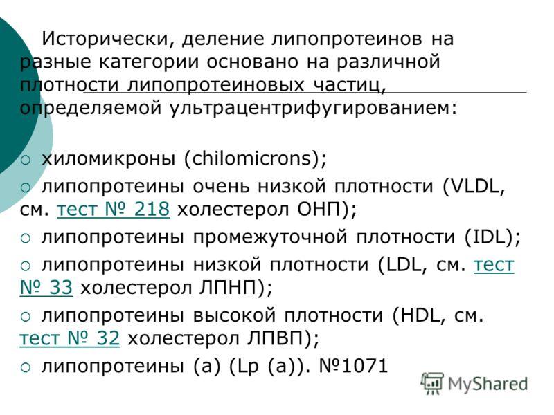 Исторически, деление липопротеинов на разные категории основано на различной плотности липопротеиновых частиц, определяемой ультрацентрифугированием: хиломикроны (chilomicrons); липопротеины очень низкой плотности (VLDL, см. тест 218 холестерол ОНП);