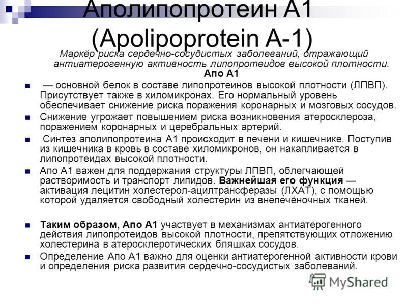 Аполипопротеин А1 (Apolipoprotein A-1) Маркёр риска сердечно-сосудистых заболеваний, отражающий антиатерогенную активность липопротеидов высокой плотности. Апо А1 основной белок в составе липопротеинов высокой плотности (ЛПВП). Присутствует также в х