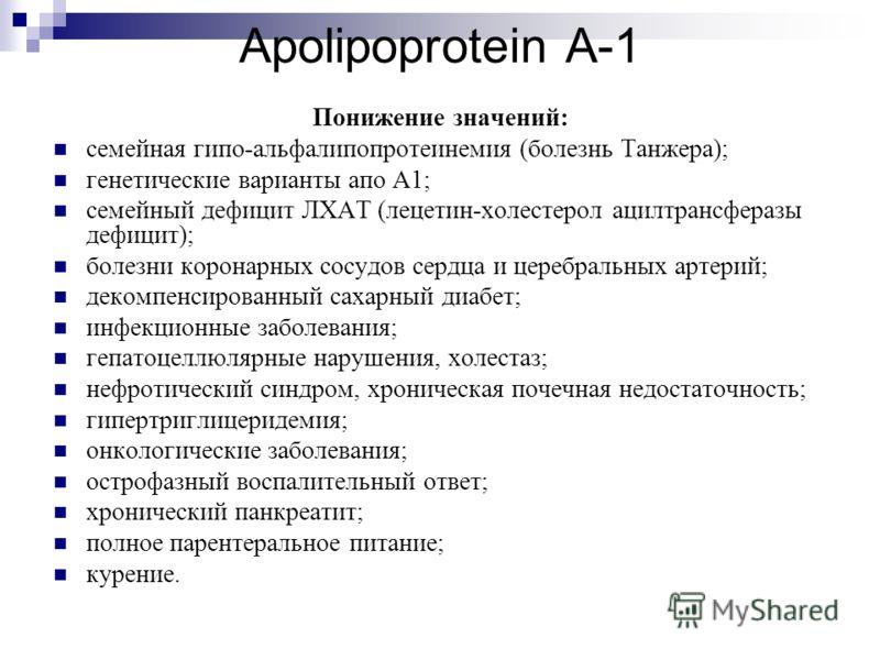 Apolipoprotein A-1 Понижение значений: семейная гипо-альфалипопротеинемия (болезнь Танжера); генетические варианты апо А1; семейный дефицит ЛХАТ (лецетин-холестерол ацилтрансферазы дефицит); болезни коронарных сосудов сердца и церебральных артерий; д