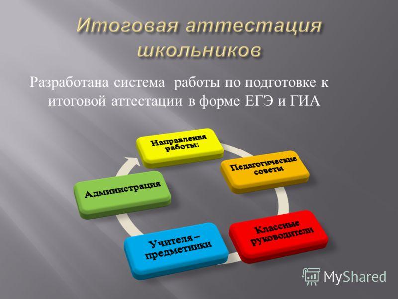 Разработана система работы по подготовке к итоговой аттестации в форме ЕГЭ и ГИА
